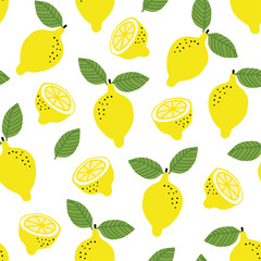 Hand drawn seamless pattern with yellow lemon fruit and leaves. Summer retro fabric design, cartoon illustration, vector background.
