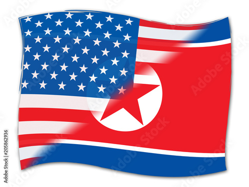 North Korean And Usa Agreement Flag 3d Illustration Stock Photo And