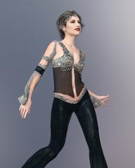 Tanzende Frau in modischer Kleidung