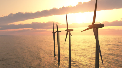 Offshore wind turbines against a sunny sky