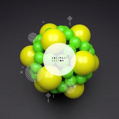3D molecule. Molecular structure. Vector illustration for science.