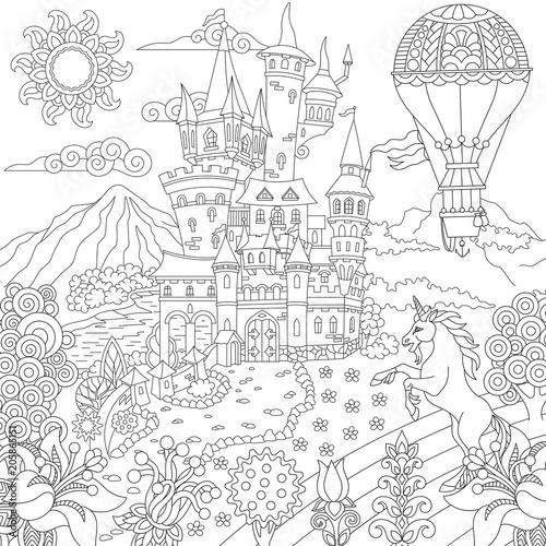 Fairy Tale Concept Fairytale Landscape With Vintage Castle Unicorn Flowers Hot Air