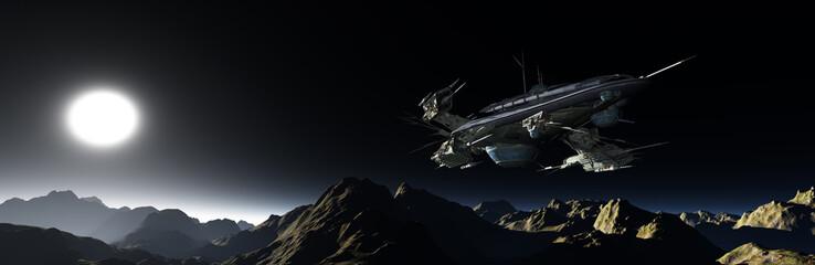 Raumfahrzeug in einer fernen Welt