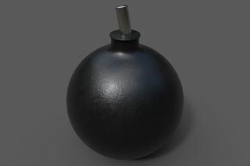 3d rendering. A cartoon bomb.