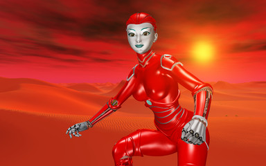 Humanoid robot in a distant world