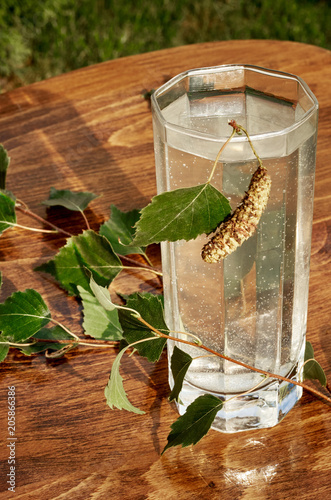 Glasses of birch sap juice drink birch branches on wooden