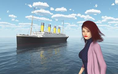 Attraktive Frau mit wehenden Haaren und Ozeandampfer