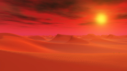Desert landscape in a distant world