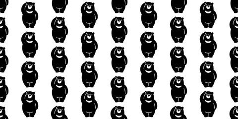 Bear seamless pattern polar bear vector panda isolated wallpaper background illustration cartoon