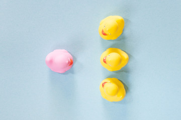 Racism, homophobia, discrimination and social exclusion concept with a pink rubber duck standing out from the common yellow ones