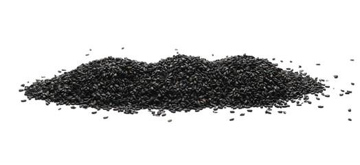 Black organic sesame seeds isolated on white background