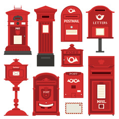 Red english post box set with vertical pillar letter-box, public wall letterbox and pedestal mail posts with envelope and horn symbols. Vintage mailbox set with classic london post box icons.