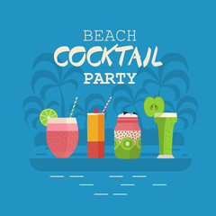Beach cocktail party invitation card or poster with smoothies and cocktails on palm island background. Summer holiday concept. Beach event banner with soft fruit drinks and beverages.