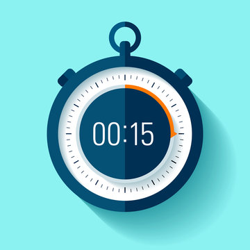 Stopwatch icon in flat style, timer on color background. Sport clock. Vector design element for you business project