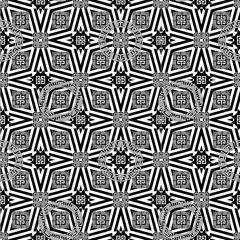 Ornamental geometric greek vector seamless pattern. Abstract black and white monochrome modern background. Geometrical shapes, greek key, meander, circles, squares, stripes, rhombus. Geometry design