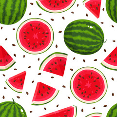 Vector seamless pattern with cartoon watermelons isolated on white.