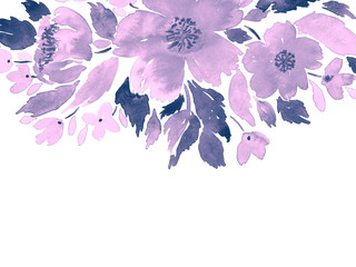 Watercolor loose flowers. Hand painted floral template card in purple