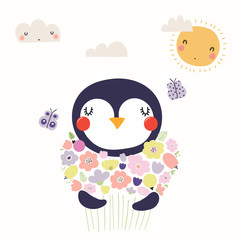 Hand drawn vector illustration of a cute funny penguin holding a bouquet of flowers, with butterflies, sun, clouds. Isolated objects. Scandinavian style flat design. Concept for children print.