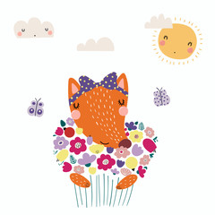 Hand drawn vector illustration of a cute funny fox holding a bouquet of flowers, with butterflies, sun, clouds. Isolated objects. Scandinavian style flat design. Concept for children print.