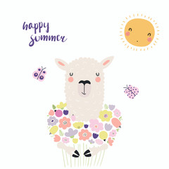 Hand drawn vector illustration of a cute funny llama with a bouquet of flowers, butterflies, sun, lettering Happy summer. Isolated objects. Scandinavian style flat design. Concept for children print.