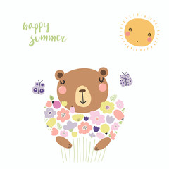 Hand drawn vector illustration of a cute funny bear with a bouquet of flowers, butterflies, sun, lettering Happy summer. Isolated objects. Scandinavian style flat design. Concept for children print.
