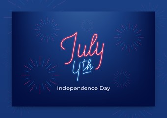 July 4th. USA Independence Day greeting banner. Modern layout with neon lettering and fireworks