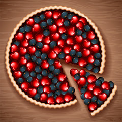 Vector illustrtion - berry pie on a wooden table