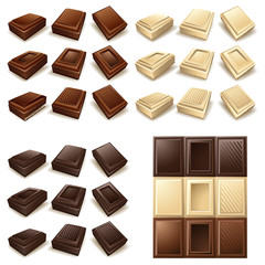 Vector icon set - Chocolate pieces and bars