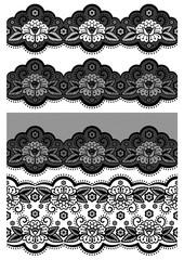 Vector illustration - set of seamless lace ribbon