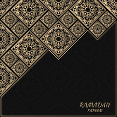 Vector card with floral tiles. Islamic design. Golden foil decorative elements. Gold and black background.