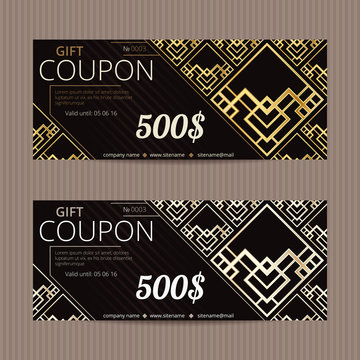 Gift voucher in luxury style. Vector discount card. Art Deco tiles. Golden and silver ornament.