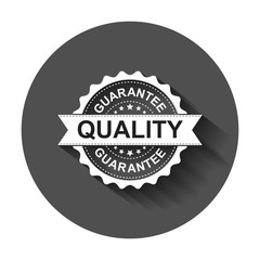 Guarantee grunge rubber stamp. Vector illustration with long shadow. Business concept quality stamp pictogram.
