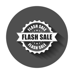 Flash sale grunge rubber stamp. Vector illustration with long shadow. Business concept sale discount stamp pictogram.