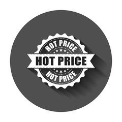 Hot price grunge rubber stamp. Vector illustration with long shadow. Business concept hot price stamp pictogram.