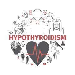 Hyperthyroidism. Symptoms, Treatment. Icons set. Vector signs
