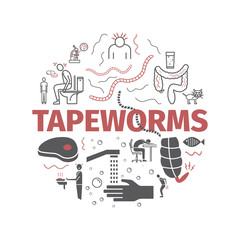 Tapeworms. Symptoms, Treatment. Line icons set. Vector signs for web graphics.