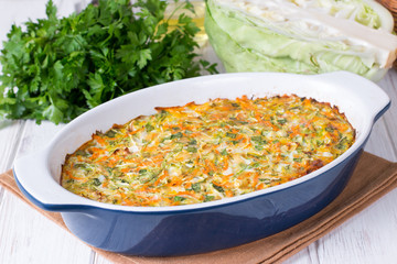 Casserole from a cabbage