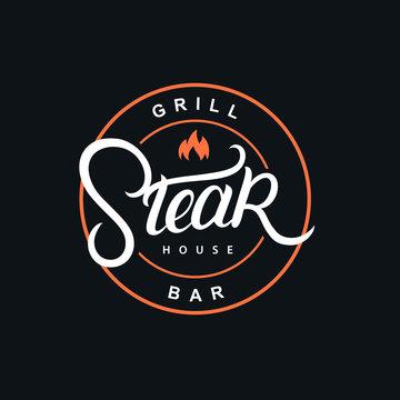 Steak house hand written lettering logo