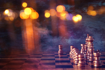 abstract Image of chess board game. Business, competition, strategy, leadership and success concept.