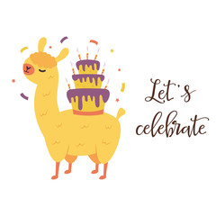 Holiday birthday card with cute llama and cake