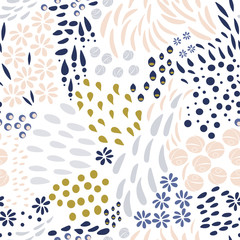 Vector organic seamless abstract background, botanical motif, freehand doodles pattern.