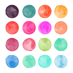 Set of colorful watercolor hand painted round shapes, stains, circles, blobs isolated on white. Illustration for artistic design.