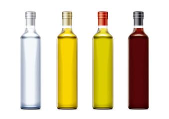 Bottles mockups for oil and other foods. Cork cap version.