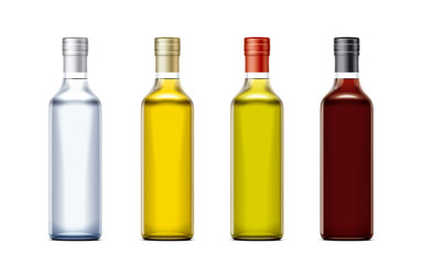 Bottles mockups for oil and other foods. Cork cap version. Small size