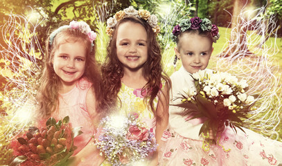 Little girls smile and pose, fairies and angels