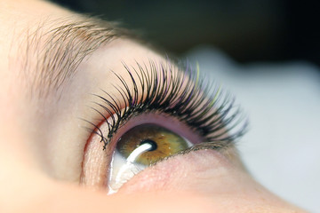 Close up of professional stylist lengthening lashes for female client in a beauty salon. Eyelash Extension Procedure.