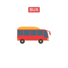 Thin line bus icon on a white background.