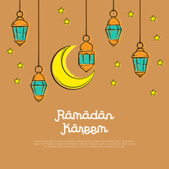 Paint ramadan kareem design background. vector illustration