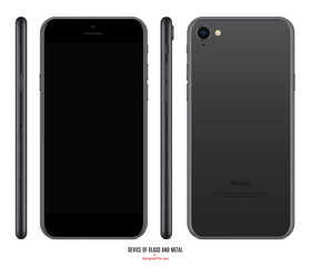 smartphone mockup in matte black color with blank screen front, back and side on white background. stock vector illustration eps10