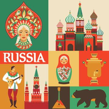 Russia. Russian folk art Flat design. Vector illustration.
